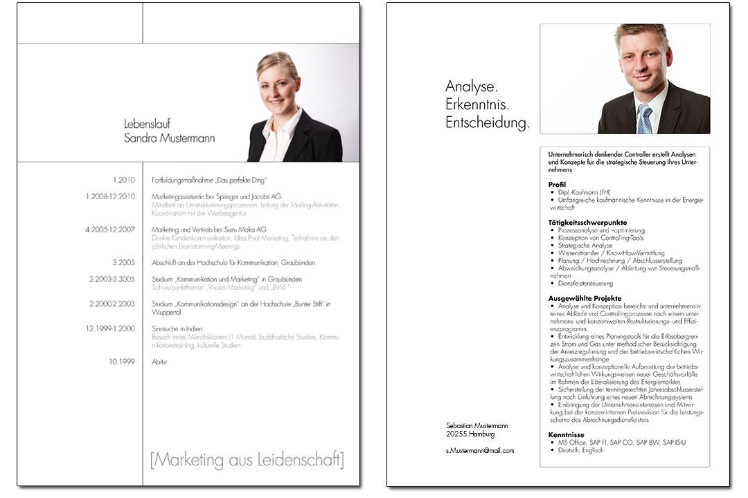 Beispiele für Lebenslauf und Fact Sheet